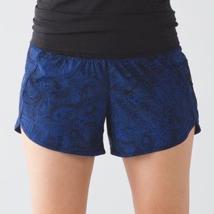 Lululemon Sapphire Blue Paisley Tracker Gym Shorts